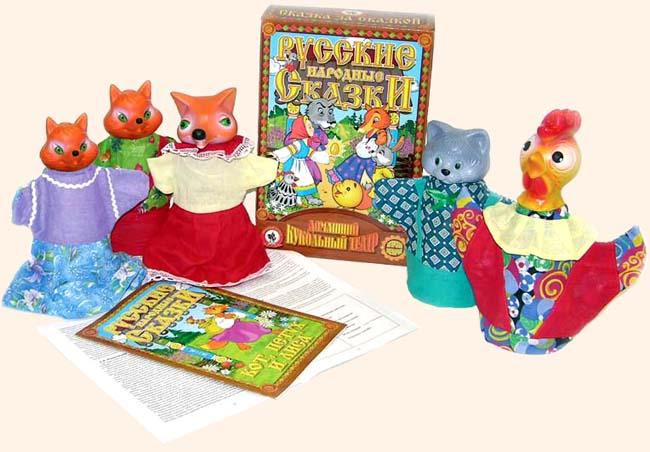 Кукольный театр Кот, Петух и Лиса 5 персонДетский кукольный театр <br>Кукольный театр Кот, Петух и Лиса 5 персон<br>