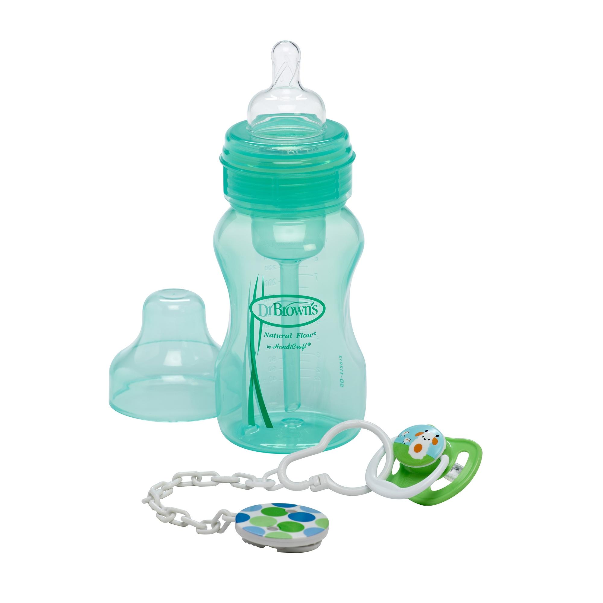 Набор подарочный зеленый - бутылочка с широким горлышком и пустышкаБутылочки<br>Набор подарочный зеленый - бутылочка с широким горлышком и пустышка<br>