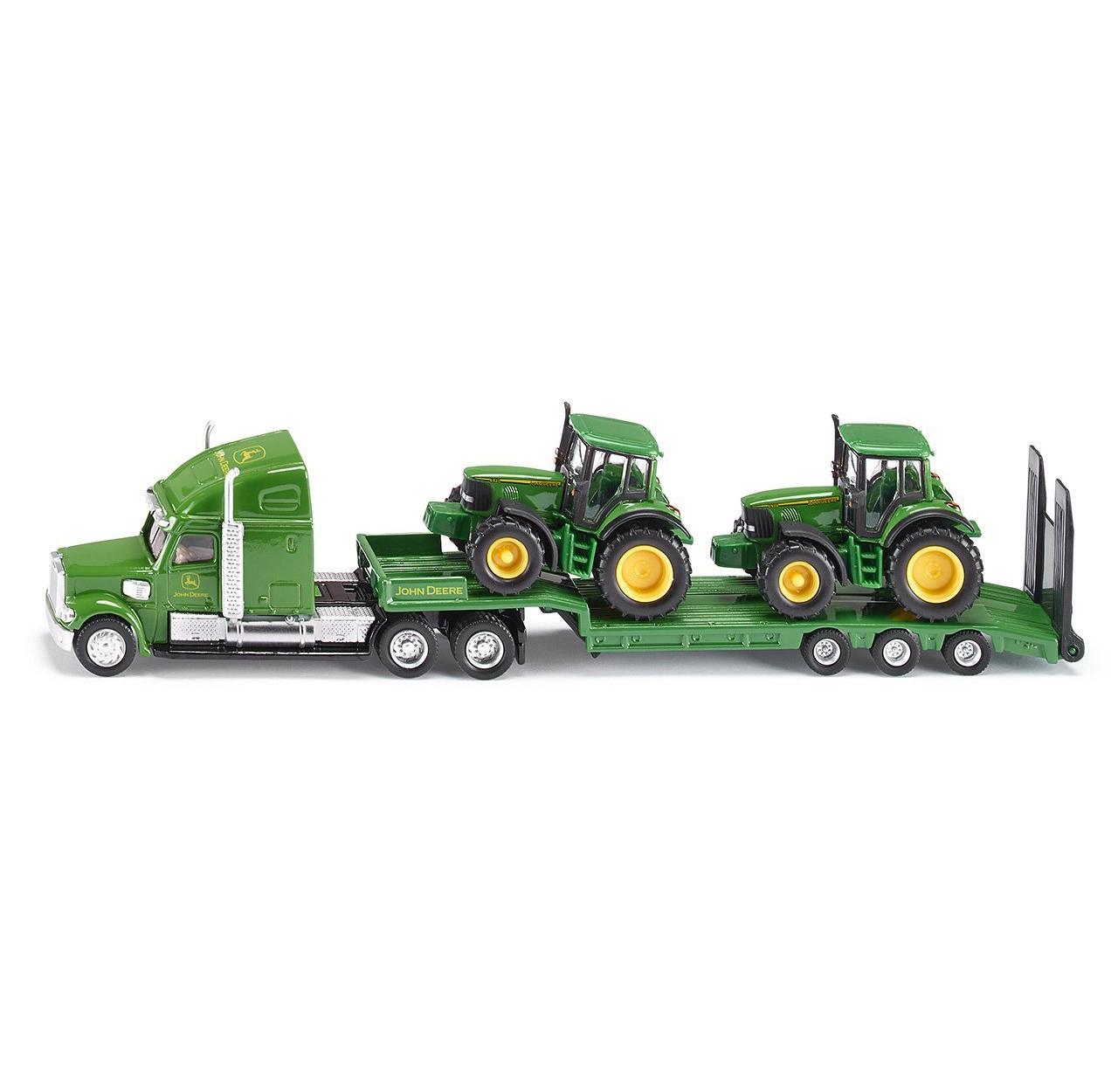 Купить Тягач с 2 тракторами Джон Дир, зеленый, масштаб 1:87, Siku