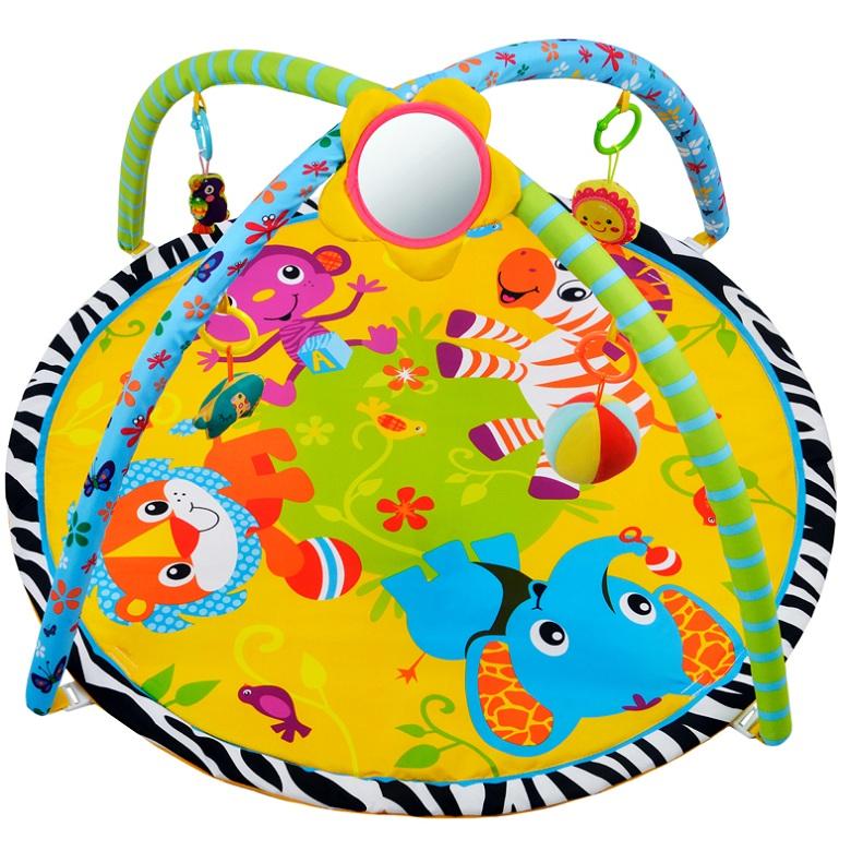 Купить Коврик развивающий - Джунгли зовут!, 5 развивающих игрушек, с зеркальцем, Жирафики