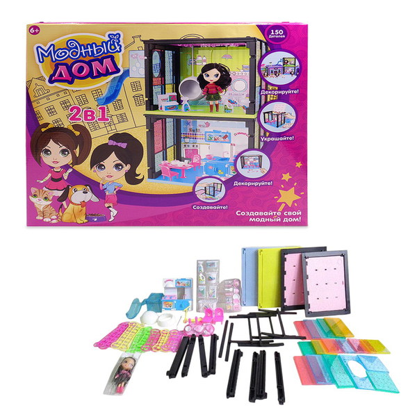 Кукольный дом - Модный дом, 2 в 1, в наборе с куклой и мебелью, 150 деталейКукольные домики<br>Кукольный дом - Модный дом, 2 в 1, в наборе с куклой и мебелью, 150 деталей<br>