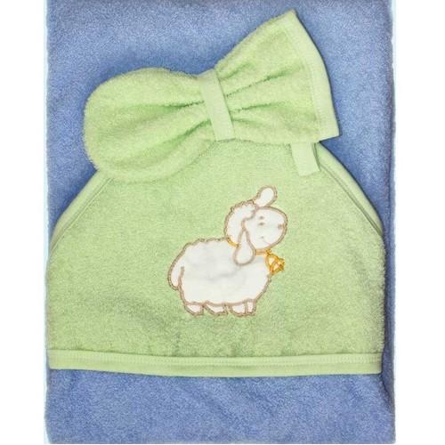 Пеленка-полотенце с варежкой – Веселые овечки, голубойПолотенца и халаты<br>Пеленка-полотенце с варежкой – Веселые овечки, голубой<br>