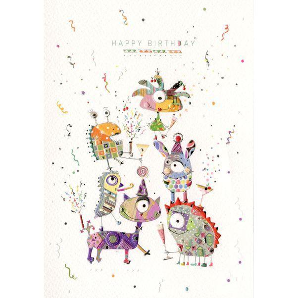 Открытка - День рождение монстров, с конвертом