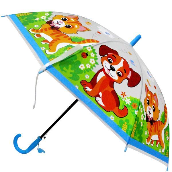 Детский зонт со свистком - Домашние животные, прозрачный, 50 смДетские зонты<br>Детский зонт со свистком - Домашние животные, прозрачный, 50 см<br>
