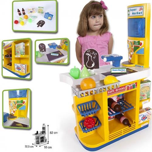 Супермаркет с кассой и холодильником для продуктов, 12 аксессуаровДетская игрушка Касса. Магазин. Супермаркет<br>Супермаркет с кассой и холодильником для продуктов, 12 аксессуаров<br>
