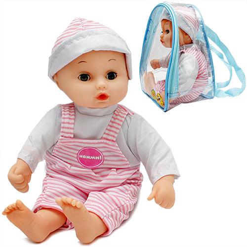 Озвученный пупс в рюкзачке sim)Куклы Карапуз<br>Озвученный пупс в рюкзачке sim)<br>