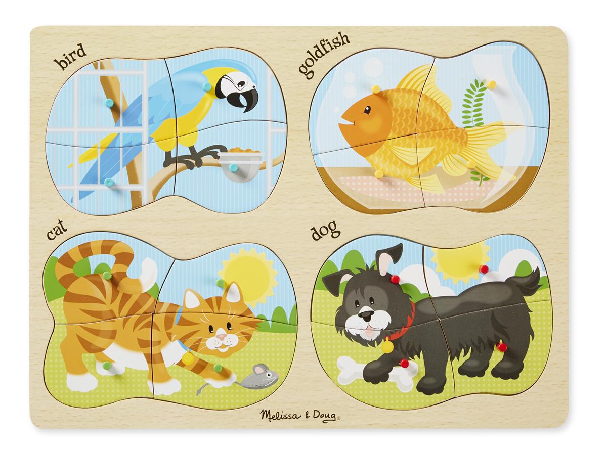 Деревянный пазл – Домашние животные, 4 в 1, 16 деталей с кнопкамиПазлы для малышей<br>Деревянный пазл – Домашние животные, 4 в 1, 16 деталей с кнопками<br>