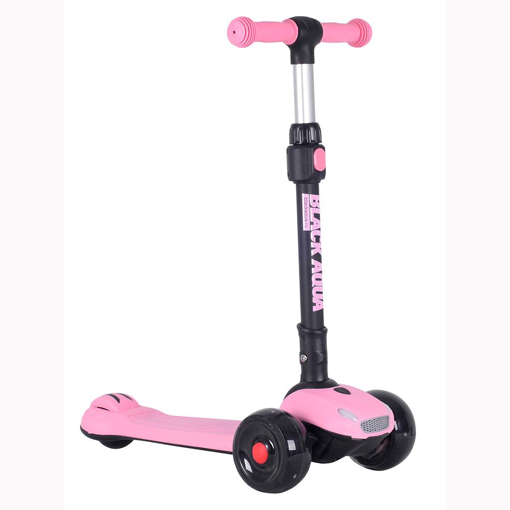 Купить Самокат трёхколёсный Black Aqua S00468 светящиеся колёса, розовый