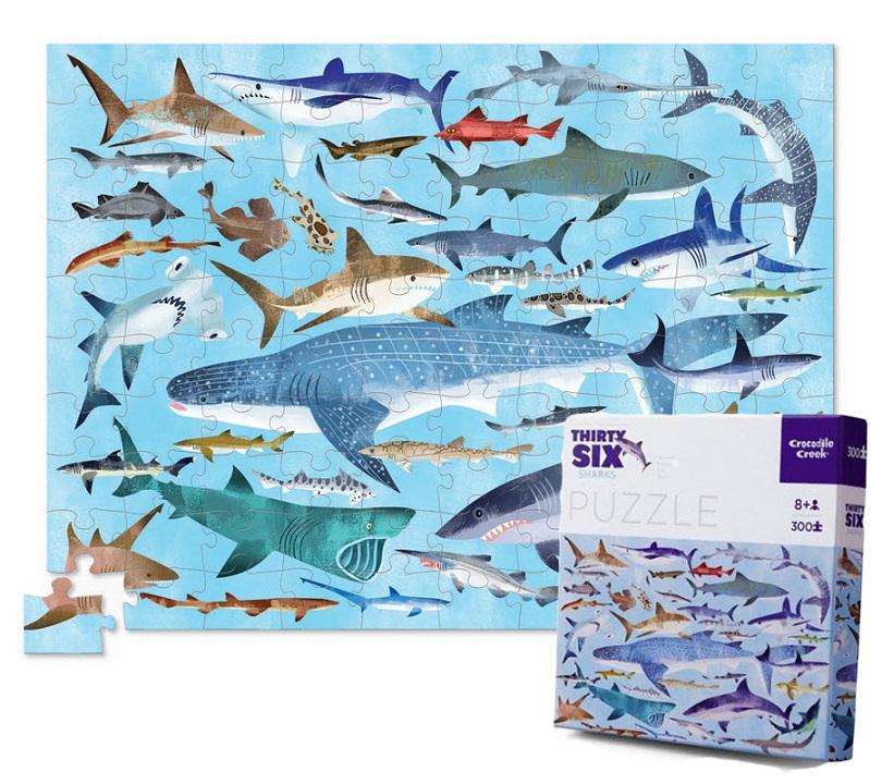 Купить Пазл 300 деталей – Акулы из серии 36 Животных, Crocodile Creek