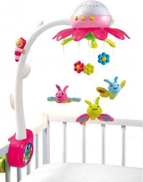 Мобиль музыкальный на кроватку - Цветок, розовыйМобили и музыкальные карусели на кроватку, игрушки для сна<br>Мобиль музыкальный на кроватку - Цветок, розовый<br>