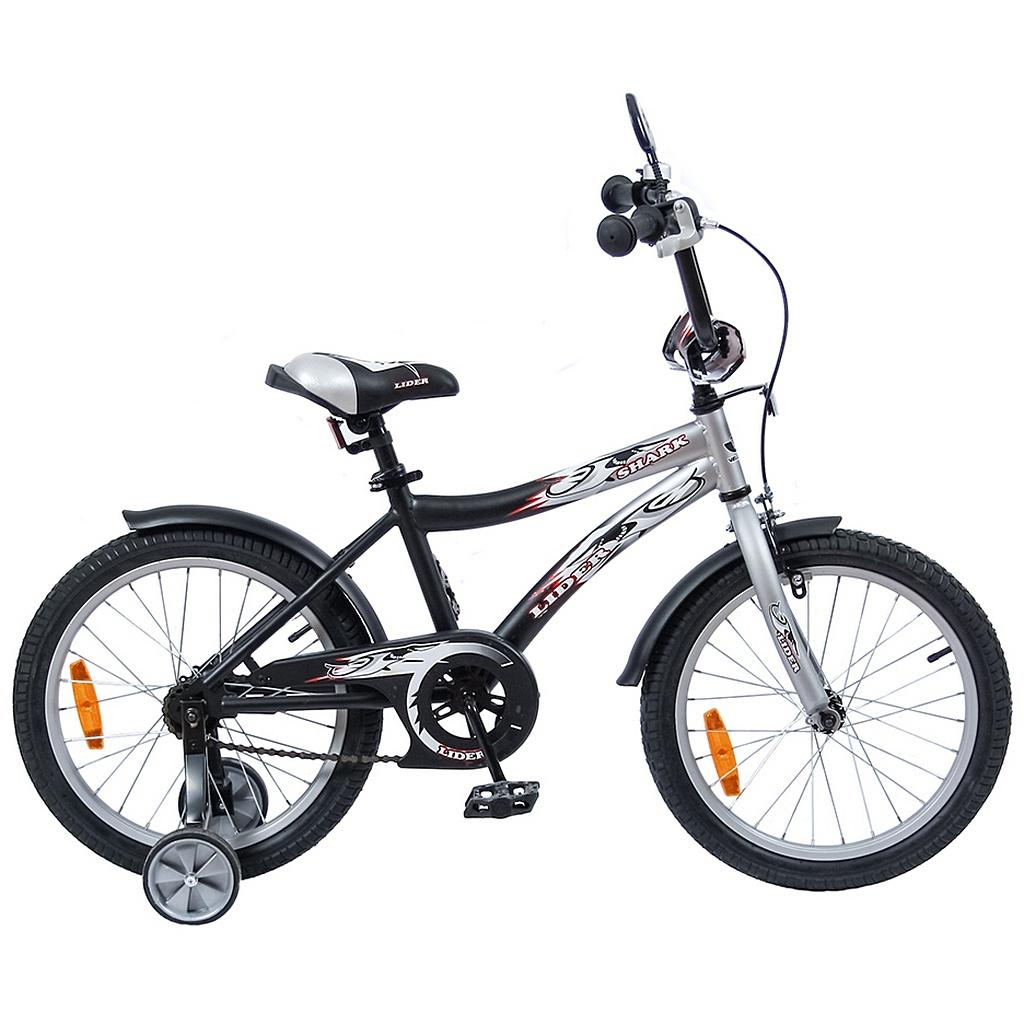 Двухколесный велосипед Lider shark, диаметр колес 18 дюймов, серый/черныйВелосипеды детские<br>Двухколесный велосипед Lider shark, диаметр колес 18 дюймов, серый/черный<br>
