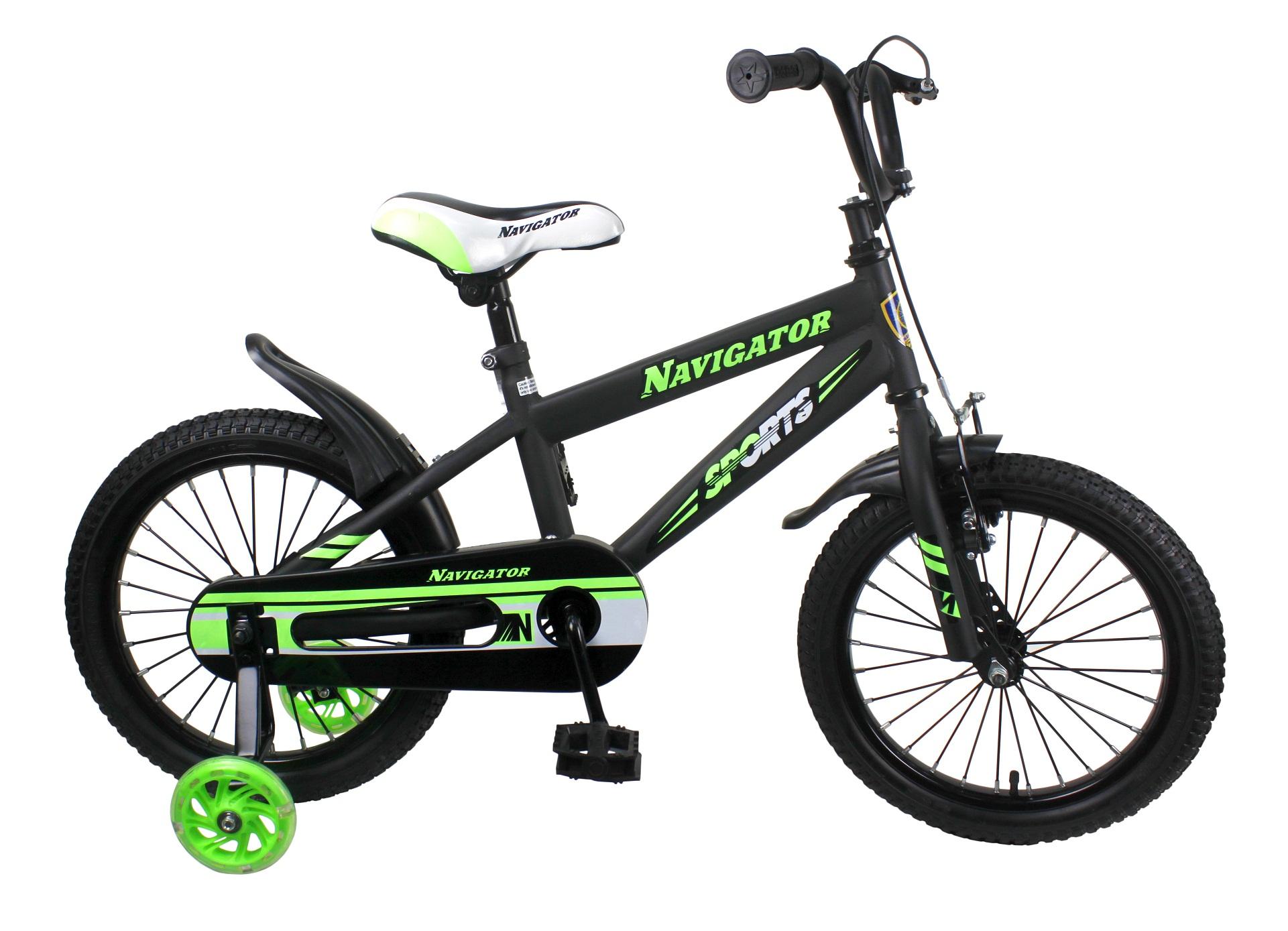 Купить Детский велосипед Sport I, колеса 16 дюймов, светящиеся страховочные колеса, Navigator