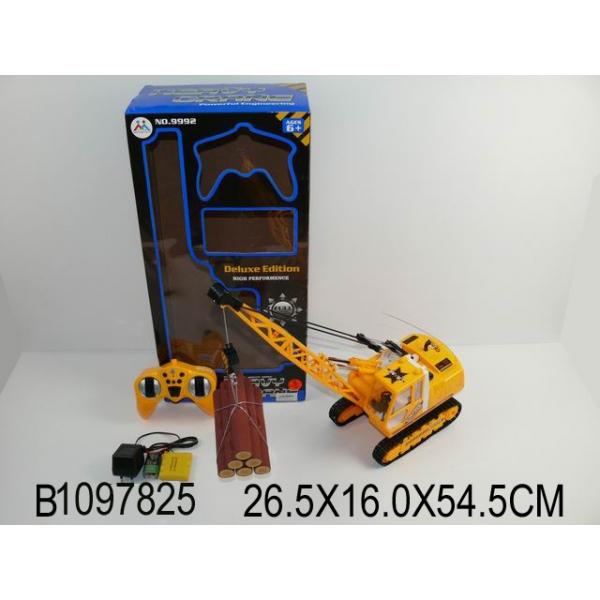 Купить Кран строительный на радиоуправлении с аккумулятором, светом, usb зарядным устройством и аксессуарами