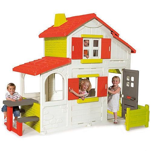 2-х этажный коттедж для друзей Smoby, 320023Пластиковые домики для дачи<br>2-х этажный коттедж для друзей Smoby, 320023<br>