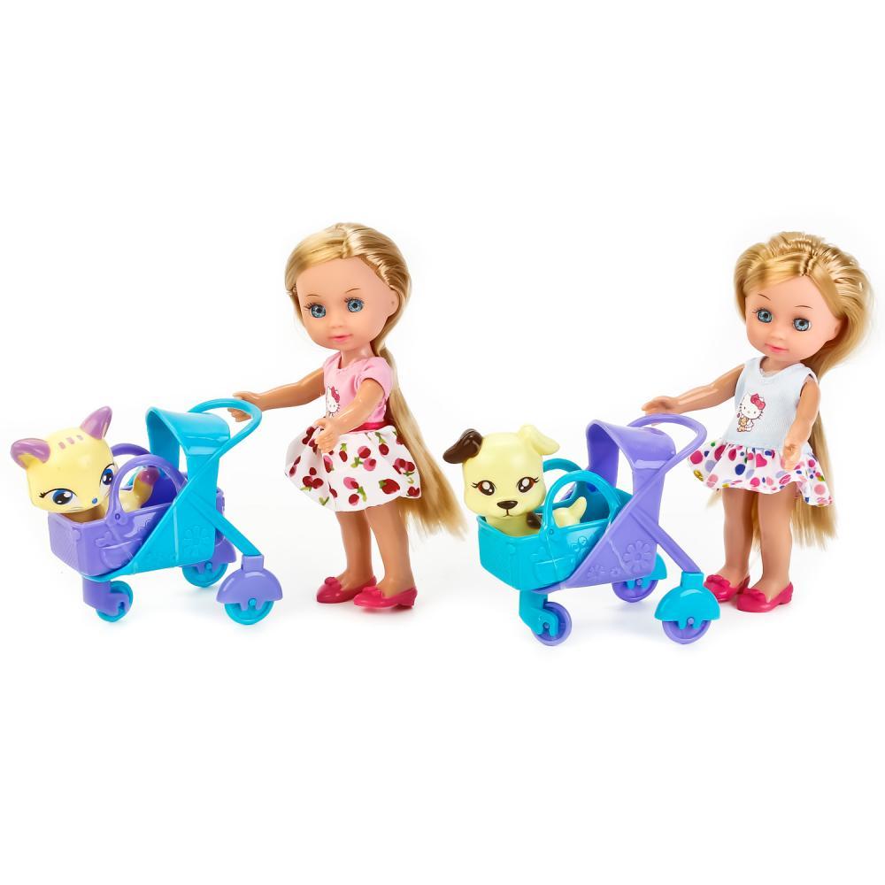 Купить Кукла с аксессуарами Hello Kitty – Машенька с питомцем в коляске, 15 см, Карапуз