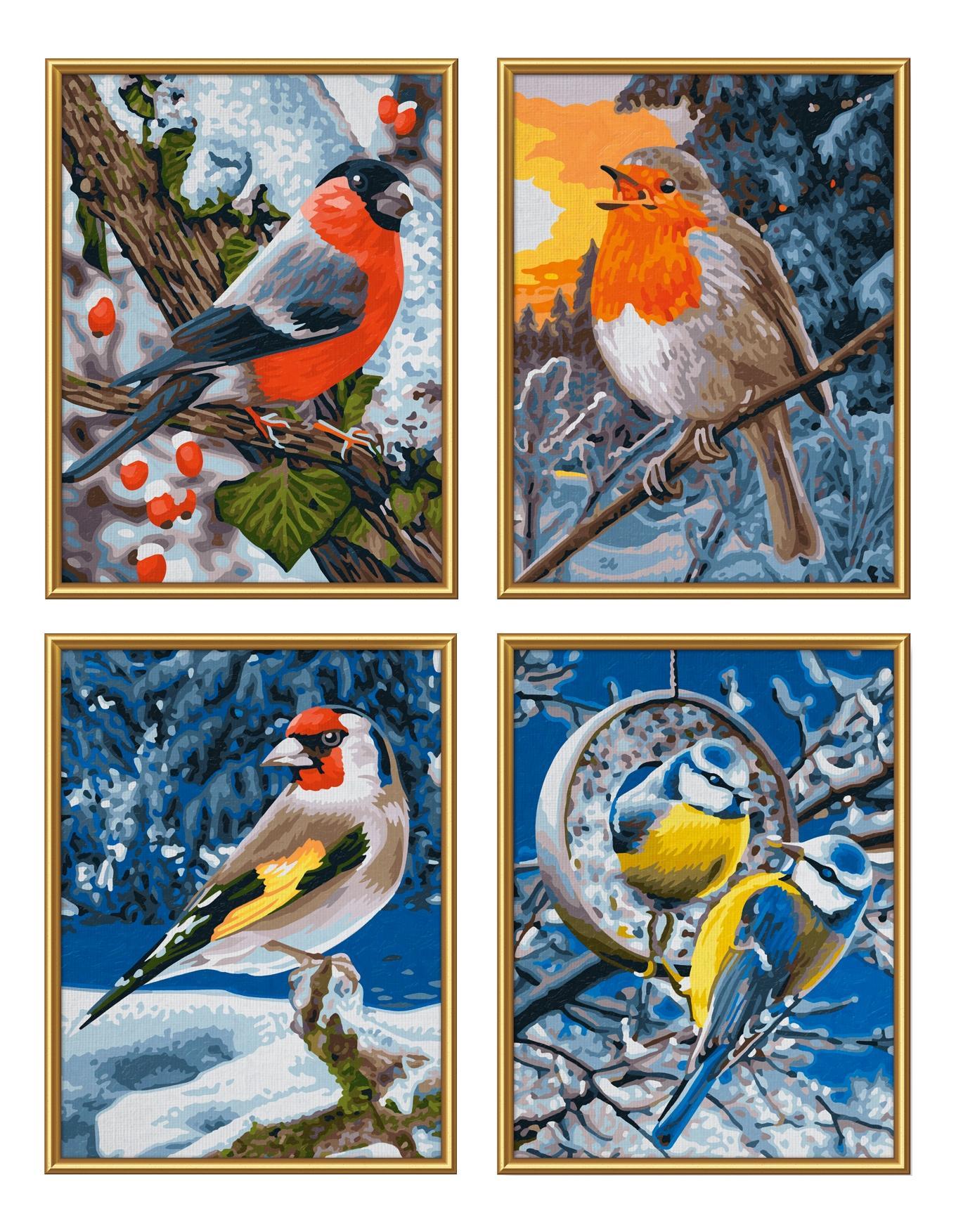 Картина по номерам – Птицы зимой. 4 картины, 18 х 24