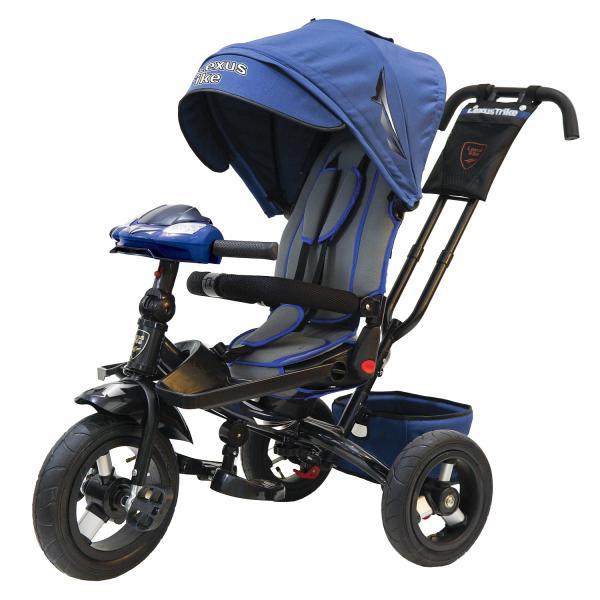 Купить Велосипед 3-х колесный - Ltsport, надувные колеса диаметром 30 и 25 см, светомузыкальная панель, складной руль, цвет – темно-синий с черным, Lexus Trike