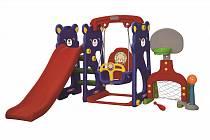Игровая зона Мишка с качелями с музыкальной панелью, футбольными воротами и баскетбольным кольцом (Gona Toys, GT-805-1)