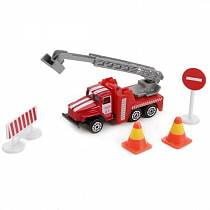 Игровой набор – Металлический пожарный Урал, дорожные знаки (Технопарк, SB-17-05-BLCsim)