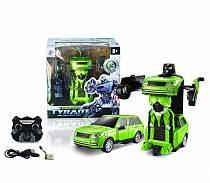 Радиоуправляемый робот-трансформер, зеленый, свет и звук (Junfa Toys, TT651B)