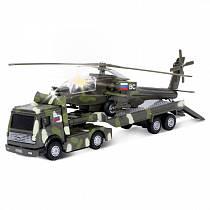 Трейлер Военный с вертолетом, металлический, инерционный, свет и звук (Технопарк, CT10-037-3sim)