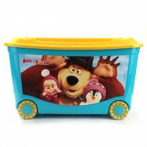 """Ящик для игрушек на колесах с аппликацией """"Маша и Медведь"""", голубой (Бытпласт, 431379402sim)"""