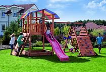 Набор для игровой площадки - Детский домик с песочницей, тентом, горкой и сдвоенными кольцами (Paremo, PS217)