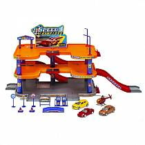 Игровой набор Гараж c 3 машинами и вертолетом (Welly, 96050)