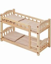 Двухъярусная кукольная кроватка из дерева с бежевым текстилем (Paremo, PFD116-05)