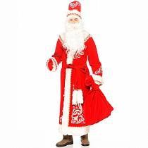 Костюм карнавальный взрослый - Дед Мороз с аппликациями, красный, размер 54-56 (Батик, 146-54-56)