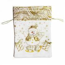 Мешок для подарка, размер 17,5 х 24 см., золотой (Новогодняя сказка, 973033)