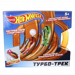 Hot Wheels турбо-трек, 39 деталей, ИК управление, 2 болида, со светом (1Тoy, Т14098)