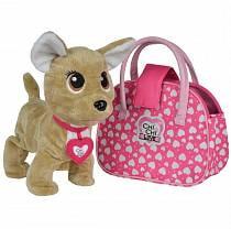 Интерактивная плюшевая собачка Chi-Chi love - Счастливчик, с сумочкой, 20 см, звук (Simba, 5893110)