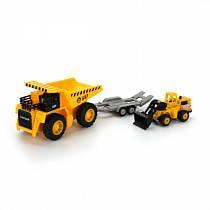 Набор строительной техники - Карьерный самосвал и бульдозер на тележке (Технопарк, SB-16-43+MC-WBsim)