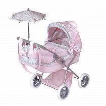 Коляска с сумкой и зонтом - Романтик, розовая, 65 см (DeCuevas, 85019)