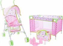 Набор для куклы 3 в 1 - коляска, кроватка, сумка с аксессуарами (Mary Poppins, 451169)