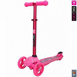 Самокат трехколесный Trio Diamond 120 - Kaleidoscope светящаяся платформа, pink (Y-SCOO, 6513RT) - миниатюра