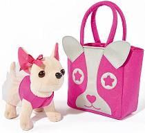 Плюшевая собачка Чихуахуа с розовой сумкой, 20 см. (Simba, 5897403)