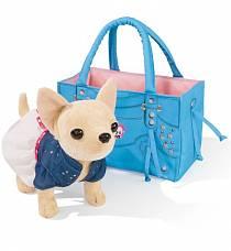 Игровой набор с плюшевой собачкой Городской стиль в сумочке с заклёпками (Simba, 5895107)