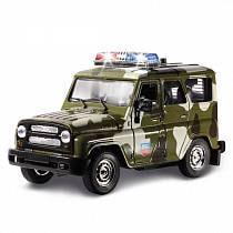 """Инерционная металлическая машина УАЗ Hunter """"Военный"""" с сиреной и мигалками, свет, звук (Технопарк, 31514-5sim)"""