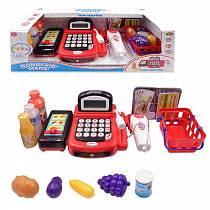 Касса из серии Помогаю Маме в наборе с продуктами и аксессуарами, 31 предмет, со световыми и звуковыми эффектами (ABtoys, PT-00829)