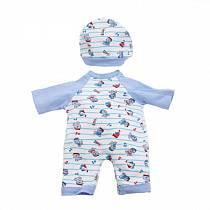 Комплект одежды для куклы Карапуз - Комбинезон с шапочкой, 40-42 см, голубой (Карапуз, OTF-505-Rusim)