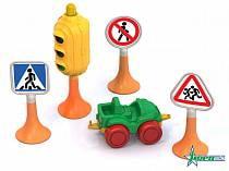 Набор - Дорожные знаки №2, светофор, 3 знака, машинка нордик (Нордпласт, 886sim)