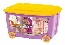 """Ящик для игрушек на колесах с аппликацией """"Маша и Медведь"""", сиреневый (Бытпласт, 431379403sim)"""