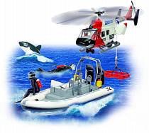 Игровой набор: полицейский вертолет, катер, акула, аквалангисты (Dickie, 3825003)