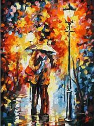 Раскраски по номерам - Поцелуй под дождем, 30 х 40 см (Белоснежка, 029-AS)