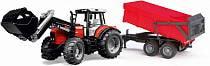 Трактор с погрузчиком и прицепом - Massey Ferguson 7480 (Bruder, 01-138)