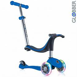 Самокат 452-100 Globber Evo 4 in 1 с 3 светящимися колесами Dark Blue (Y-Scoo Globber, 6479RT) - миниатюра