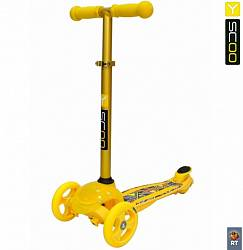 Самокат трехколесный Trio Diamond 120 - Kaleidoscope светящаяся платформа, yellow (Y-SCOO, 6515RT) - миниатюра