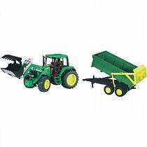 Трактор John Deere 6920 с погрузчиком и прицепом (Bruder, 01-134)